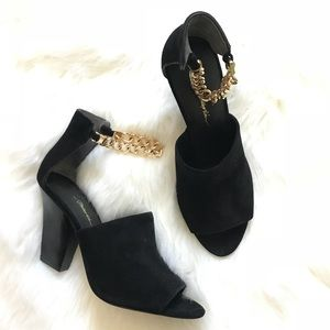 3•1 Philip Lim Suede Ankle Chain strap heels
